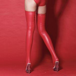 Calde autoreggenti calze in latex calze autoreggenti nere notturne per donna