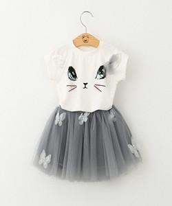 baby girl  clothes Clothing Cute Cat T-shirt Bitter Fleabane Bitter Gauze Skirt Suit Cartoon Lace Skirt Sets