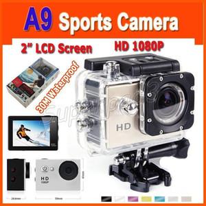 Cheappest Mini 2 pollici LCD Screen Video impermeabile azione fotocamera A9 120 gradi Lens HD 1080p del casco di sport DV Videocamera digitale Gopro TNT POST