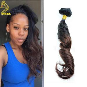 T1b / 4 Темно-коричневый Ombre Зажим для волос в растяжениях Перуанские человеческие волосы Два тональных клипа на наращивание человеческих волос Clip Ins