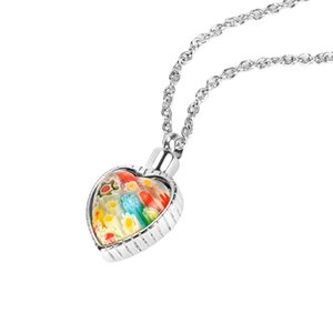 Premium Flower Patch Heart Cremation Jewelry Memorial Keepsake Urn Necklace with Gift Bag Chain and funnel