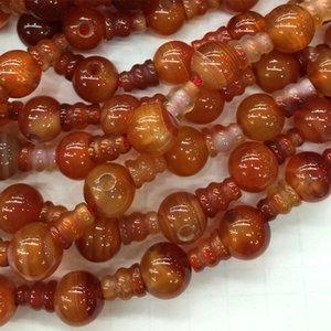 Natural Sardonyx Laranja Vermelho Laço Ágata Pagode Tee Buddha Cabeça Tibet Guru Beads Fit Jóias DIY Colares 04197