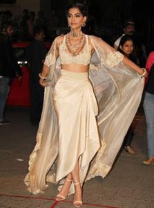 Índia Sarees Sexy Vestidos de noite com revestimento e mangas Pescoço V apliques Robe De Soiree Chiffon Vestido Longo Vestidos