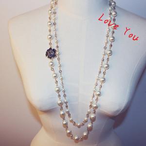 Crystal Bear Ожерелье Кулон для женщин Цветочные Подвески Длинные Ожерелье Свитер Ювелирные Изделия Корейский Жемчужный Ожерелье Свадьба Костюм Bijoux