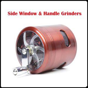 Nueva venta al por mayor Side Side Hand Grinders 63mm 4 Layers Metal Grinders Zinc Alloy Herb Grinders Tabacco Grinder VS Sharpstone Grinders