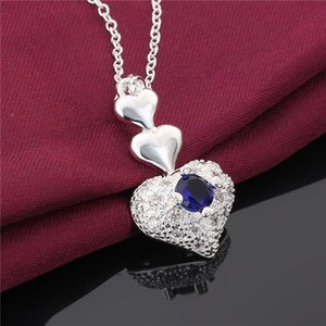 women Sterling Silver Plated heart blue zircon Pendant Necklaces GSSN640 fashion lovely 925 silver plate jewelry necklace