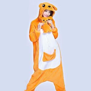 Unisex Anime Onesie Adults Flannel Hoodie Cosplay Animal Sleepwhearo Kangaro With Babies S-XL