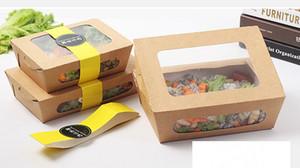 Caja de almuerzo de papel kraft desechable Eco amigable contra el aceite A prueba de fugas Comida para llevar Caja de picnic Comida para viajes