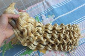 Высокое Качество Необработанные Перуанский Глубокая Волна Плетение Волос Навалом Наращивание Человеческих Волос Нет Утков Дешевые 613 Блондинка Вьющиеся Ткать Навалом Для Кос