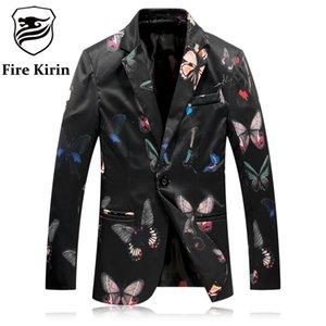 Wholesale- Fire Kirin Blazer Men 2017 Black White Butterfly Pattern Mens Printed Blazer Slim Fit Blazers For Men Casual Suit Jacket Q8