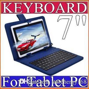 OEM прибыть кожа стенд чехол с Micro USB клавиатура для 7-дюймовый планшетный ПК Бесплатная доставка Оптовая продажа A-JP