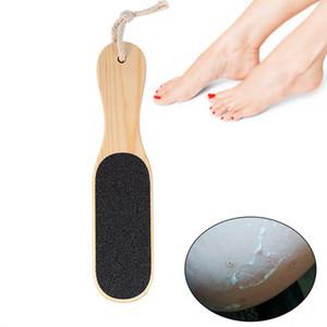 مزدوجة من جانب الملف القدم المبرد الكالس الصلب الميت للبشرة مزيل بالأقدام الغسيل أداة الخشب مقبض باديكير عناية بالقدم