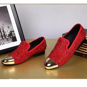 Nueva llegada de la moda Rhinestone Zapatos casuales Rojo / Negro / Gold Crystal Oxfords para hombre y mujer zapatos planos zapatos de boda fiesta