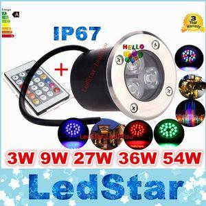 12V 9W Led RGB подземный свет палубная лампа открытый IP67 похоронен встраиваемые напольные светильники теплый / холодный белый красный синий зеленый с пультом дистанционного управления