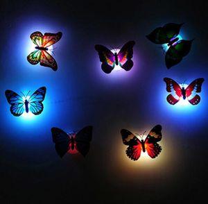 Novidade brilhante borboleta noite lâmpada led bottom sticker night light para crianças romântico Home Decorativa Wall Nightlight