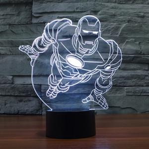 2017 de la lámpara del nuevo de Iron Man 3D óptico noche luz de la decoración de la lámpara regalo DC 5V USB de carga