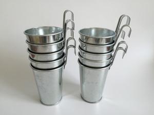 Tenture seau galvanisé de zinc en métal argenté usine Pots de fleurs Hanging pot balcon vertical mariage bain