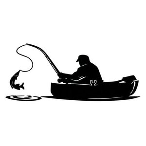 Fashion Fisherman Fishing On Board Car Sticker Covering The Body Of Interesting Vinyl Decals Black White