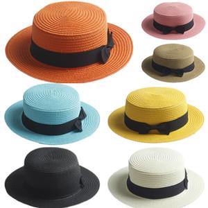 Cappello Kids Boater per adulti Cappello Bowknot di paglia Summer Jazz Beach Sun Sailor Cap 2 taglie