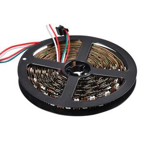 500 / 롤 풀 컬러 드레서 60LEDs / m의 ws2812b의 RGB 5050 SMD 블랙 PCB 비 방수 IP20의 DC5V 스트립 ws2812 화소 광 ws2811의 LED 칩