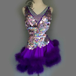 Custom Adult / Child Latin Dance Costume Sexy Purple Lentejuelas Feather Latin Dance Competition Dress Para Mujeres Niño Latin Dance Dresses S-4XL