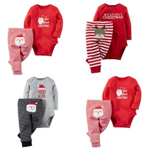 2016 nuovo Natale Xmas Outfit bambino Natale cervo Babbo Natale pagliaccetto + pantaloni a righe 2pcs / set Xmas bambini vestito C1539