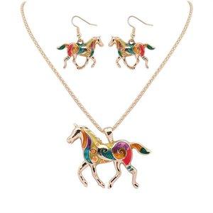 Европейский панк стиль мода 18KGP / 925 серебро реалистичные Rainbowful лошадь комплект ювелирных изделий сплава ожерелье серьги аксессуары для женщин