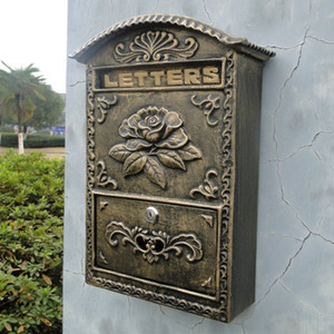 Aluminio fundido Buzón de flores En relieve Recortar Bronce Metal decorativo Correo Publicar Cartas Caja Buzón para el hogar Casa de campo Jardín Vintage Bloqueado