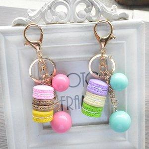 Key Chain Macaron torta Beads Candy Dessert portachiavi pendente del sacchetto dell'anello chiave Keyfob monili svegli torta regalo della decorazione del sacchetto 5 stili B777LR