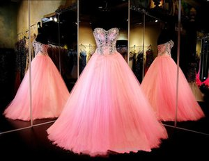 Ball Gown Quinceanera Dresses Pink Crystal Strapless Sleeveless Tulle Zipper Back Floor Length Custom Made Prom Gowns