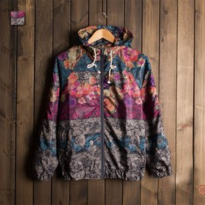 2016 Men Floral Printed Jacket Brand Fashion Men's Outwear Men Spring Summer Thin Jacket Zipper Coat Casaco Masculino Windbreak