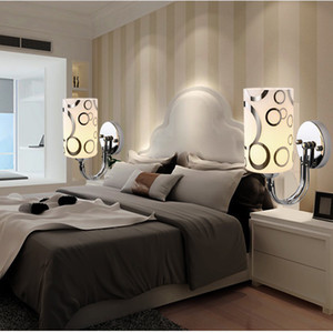 Verre clair Applique murale moderne style simple LED cristal de chevet Applique murale à lumière Chambre Culot # 14