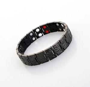 Bracelet de mode Quantum Bio Energy en acier inoxydable et titane avec anion infrarouge à aimant en germanium