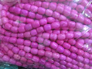2 strands 8x10mm bebé rosa turquesa rojo perlas turquesa tambor de piedra barril azul azul turquesa collar de perlas de piedra