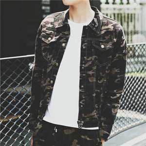 Wholesale- 2016 neue Art und Weise Mens-verursachende Camouflage Druck Jacke, Bomberjacke Jeansjacke Herren Plus Size M-3XL