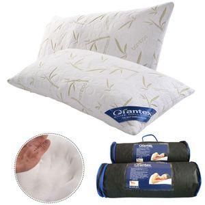GIANTEX Set di 2 cuscini anallergici in memory foam King Bambom con borsa per il trasporto