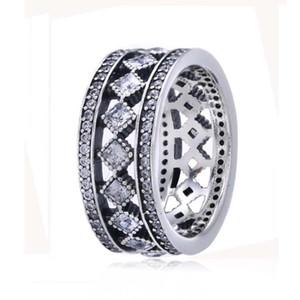100% 925 joyería de plata esterlina europea Pandora Vintage Fascination Ring con Clear Cubic Zirconia Fashion Charm Ring