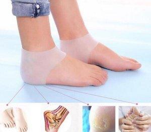2 unids / set calcetines de gel de masaje gel de silicona hidratante talón calcetines como pie agrietado Protector de cuidado de la piel 2 estilos 2 colores