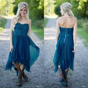 Vestidos de dama de honor de campo simple 2021 cortos baratos para la boda Teal Beach Beach Lace High Low Ruffles Party Maid Honor Vestidos bajo 100