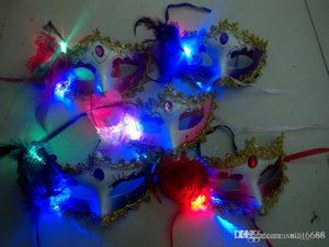 бесплатная доставка дешевые доставка световой перо маски бар Маскарад Маска Хэллоуин Маска партии игрушки Оптовая