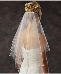 Günstige Brautschleier 2 Tier Spark Bridal Pearl Brautschleier mit Kamm