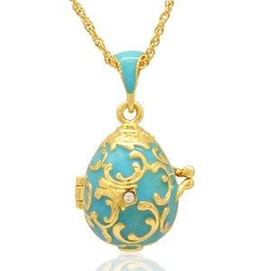 Fleur De Lis fiore Faberge Uovo ciondolo medaglione uovo di Pasqua per collana stile russo con cristallo
