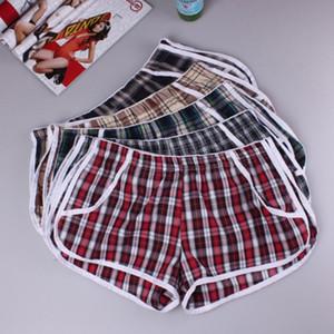 Atacado-Men Household Home Xadrez Shorts Construído Bolsa Thong Boxer Underwear S-XL