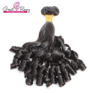 Greatremy® Tantchen Funmi Haar-Verlängerungen natürliche Farben-brasilianische menschliche Jungfrau-Haar-einschlag Spirale Locken Doppel provozierenden Locken Haarbündel Gezeichnet