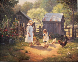 Family Sisters farm ,Free shipping, Genuine Handpainted Portrait & Animal & landscape Art oil Painting On Canvas Museum Quality
