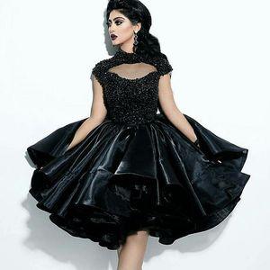 2019 Sexy Black Ball Gwon Plus Size Beaded Short Prom Dresses Abiti a collo alto economici Homecoming