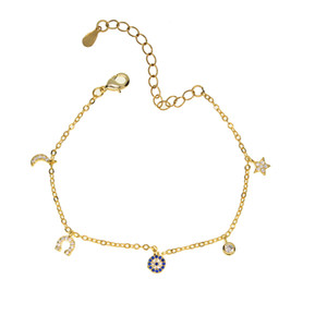 2017 Top Fashion evil eye charm jewelry silver gold plated cz moon star eye charm bracelet