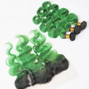 레이스 정면 폐쇄 8A Ombre 1B 녹색 처녀 머리 묶음 어두운 뿌리 녹색 몸 파동 Ombre 브라질 머리는 레이스 정면으로 엮어 냄
