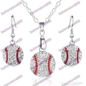 Кристалл Бейсбол Подвеска Серьги Ожерелье Ювелирные Изделия Мода Спортивные Ювелирные Изделия Лучший друг Подарок для Team Club Base Ball Lovers