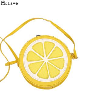 Atacado- Ingenuidade Couro PU Moda Feminina Bolsa Personalidade Rodada Limão Em Forma De Bolsa de Ombro Bolsa Com Zíper 10S70105 transporte da gota